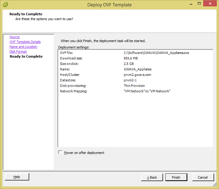 Support | Deploying a GWAVA VMware OVF template