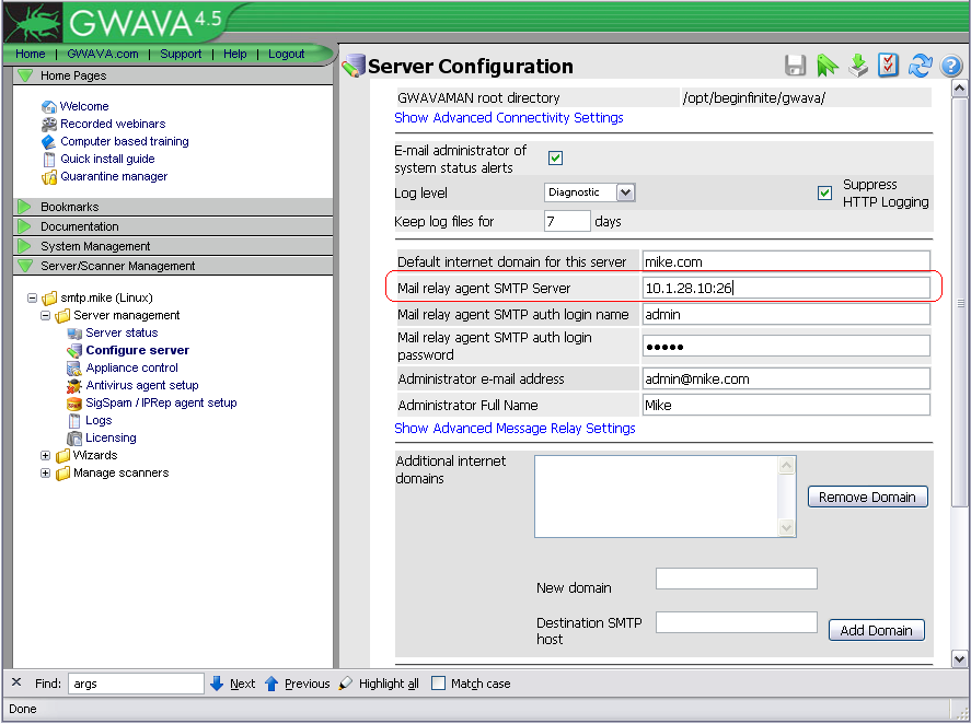 Can GWAVA SMTP relay to an SMTP server listening on a port other