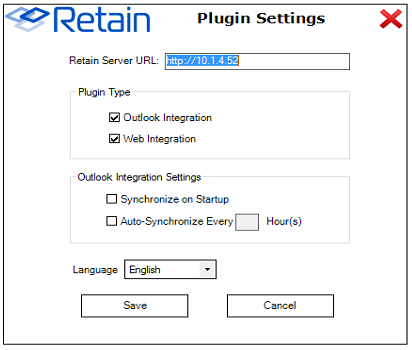 Retain outlook plugin setting