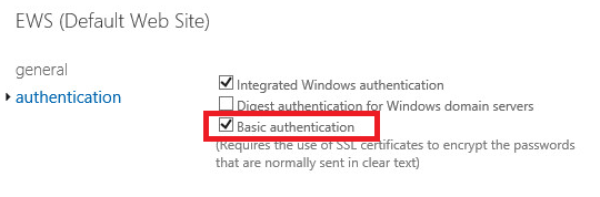 Setting up Basic Authentication in Exchange